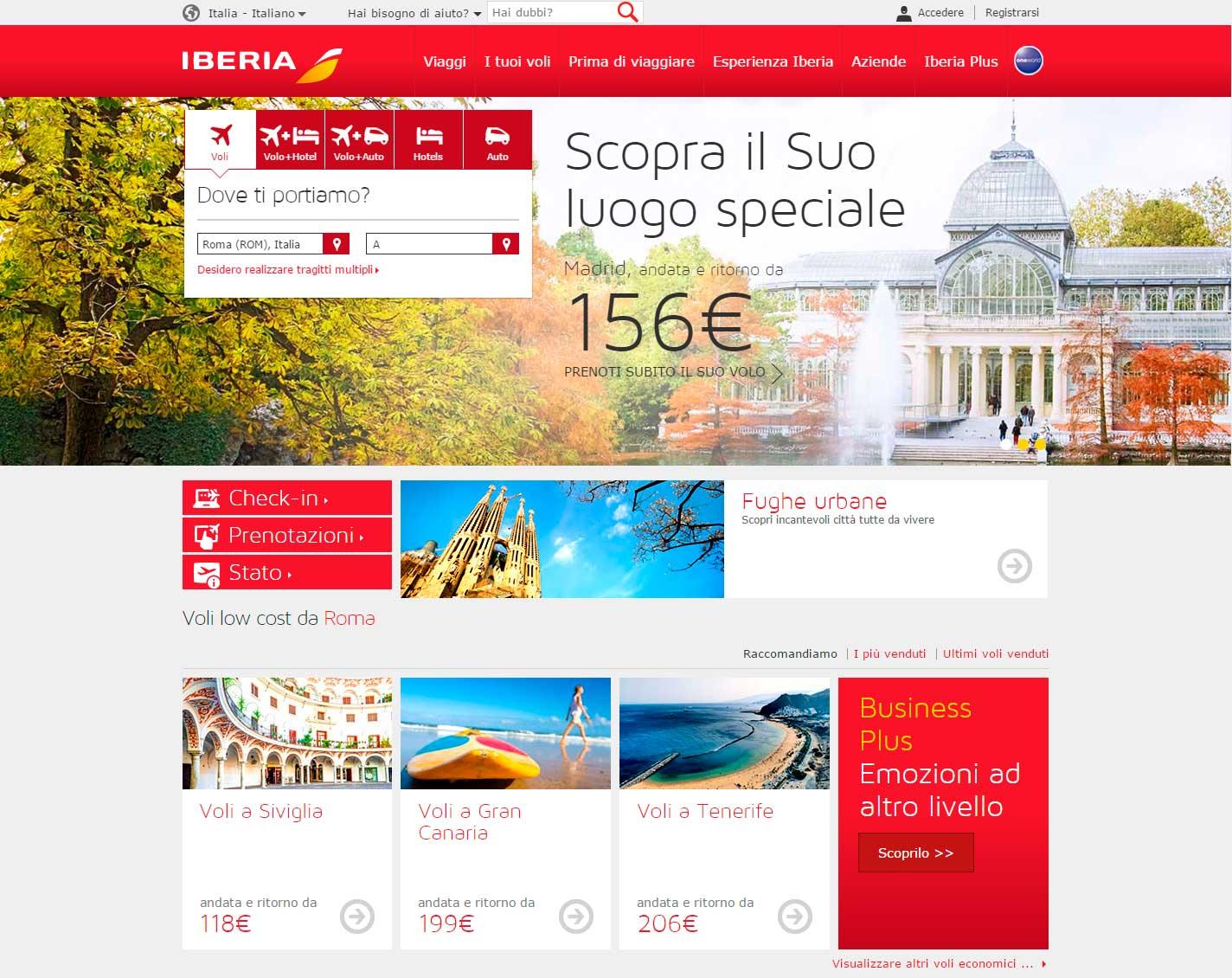 landing page orientate alla vendita: Iberia