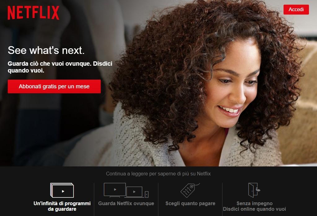landing page orientate alla vendita: netflix