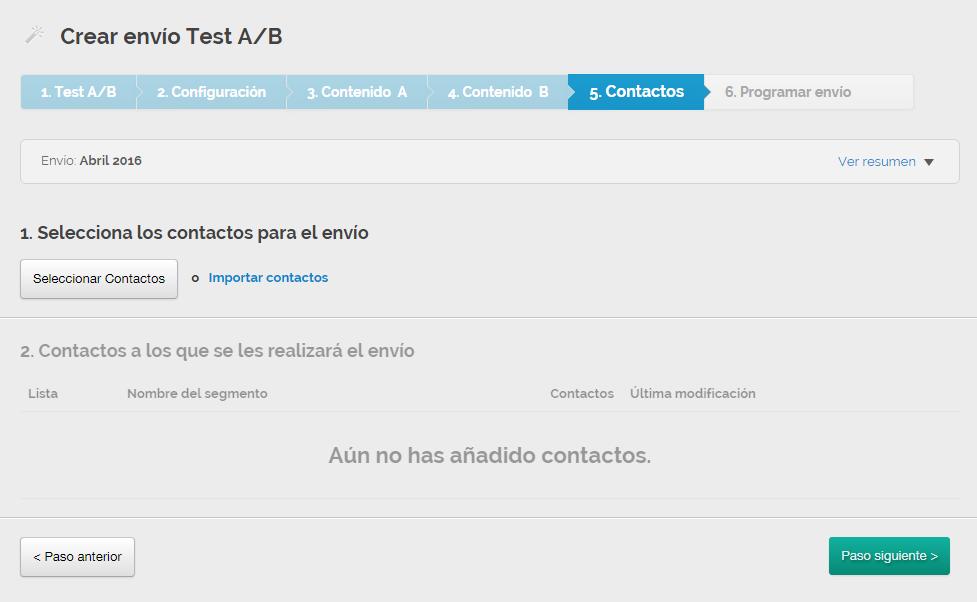 Cómo crear email Test A/B con MDirector Paso 5