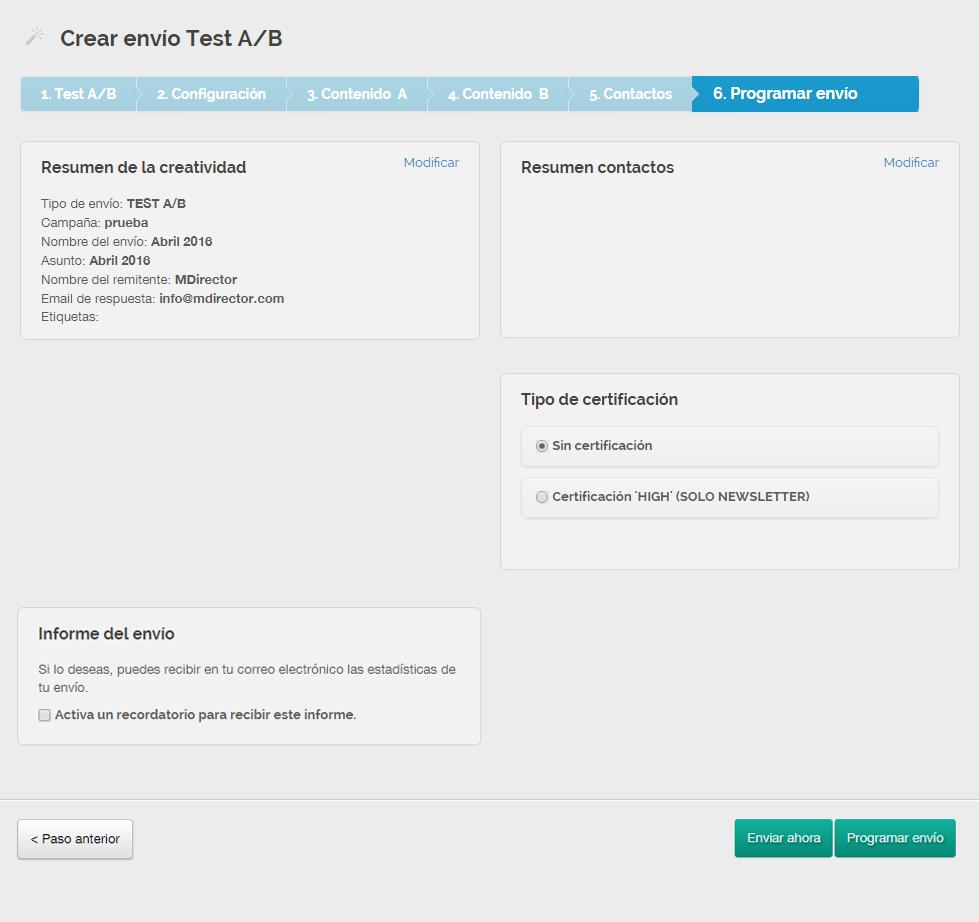 Cómo crear email Test A/B con MDirector Paso 6