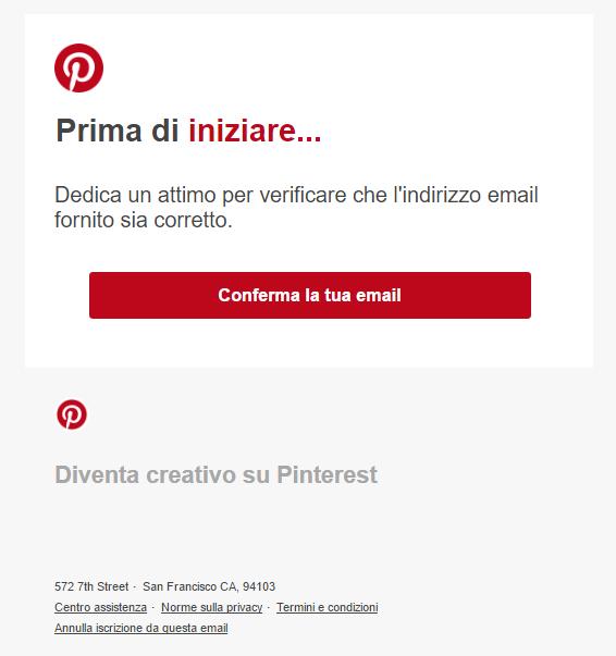 """10 esempi """"fail and win"""" di email di conferma: Pinterest"""