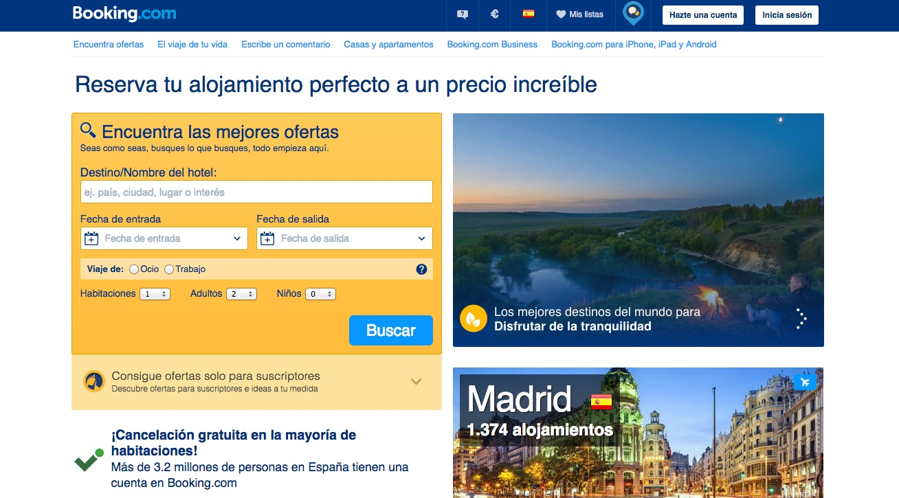 las mejores webs de viajes: booking