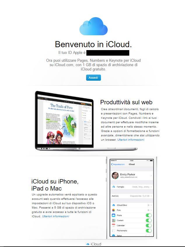 """10 esempi """"fail and win"""" di email di conferma: iCloud"""