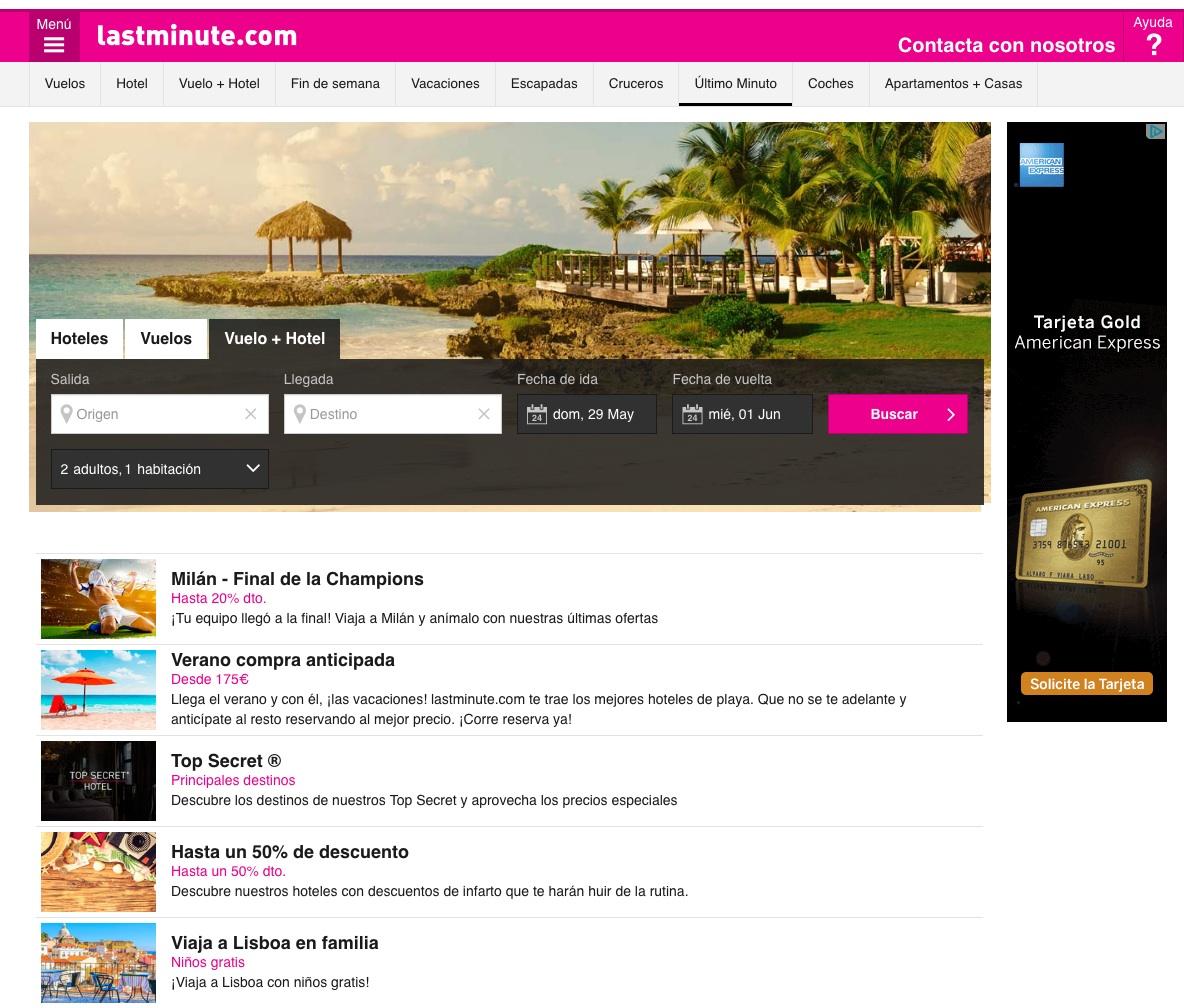 las mejores webs de viajes: lastminute