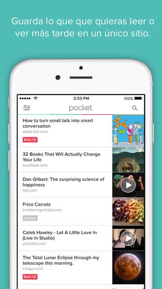 apps que van a triunfar en 2016: pocket