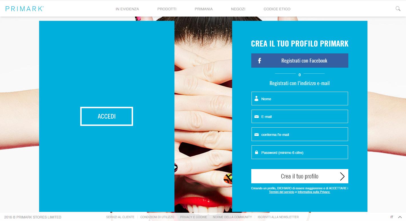 landing page ideali per gli ecommerce di moda: Primark