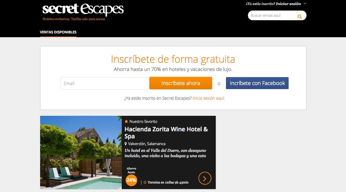 las mejores webs de viajes: secretescapes