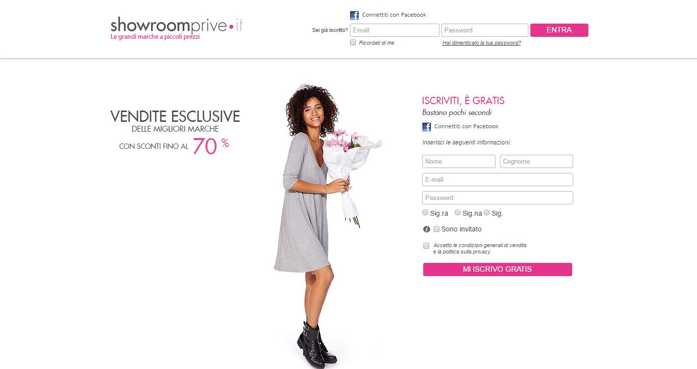 landing page ideali per gli ecommerce di moda: showroomprive