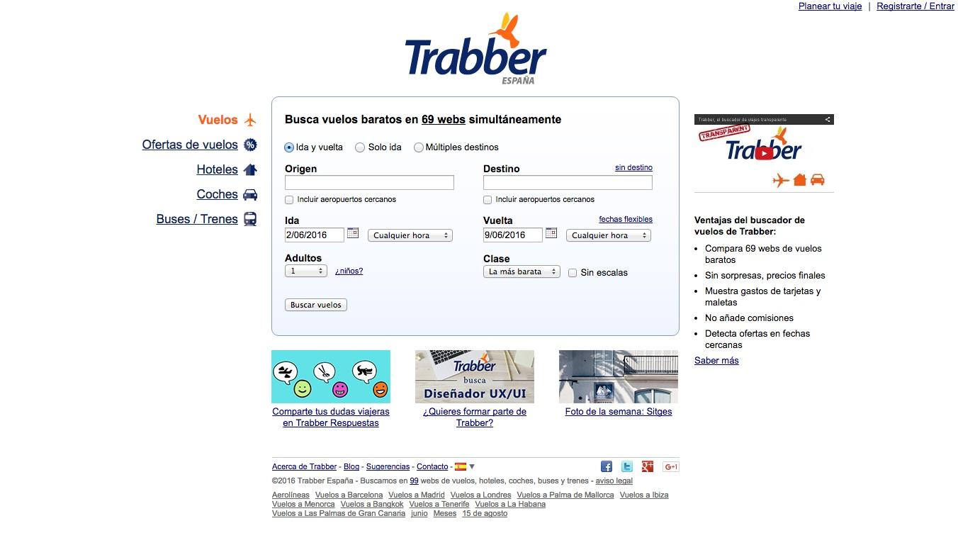 las mejores webs de viajes: trabber