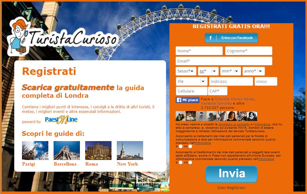 creazione di landing page: Turista Curioso con MDirector