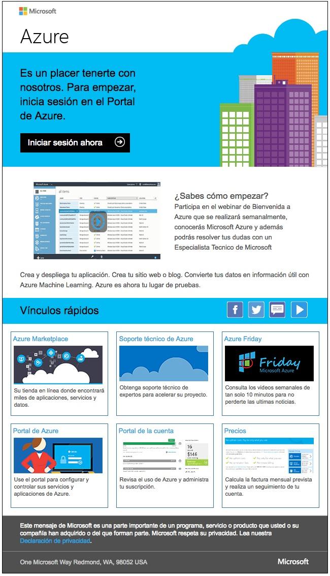 email de bienvenida Microsoft Azure