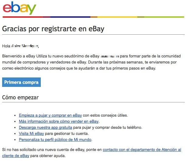 email de bienvenida eBay