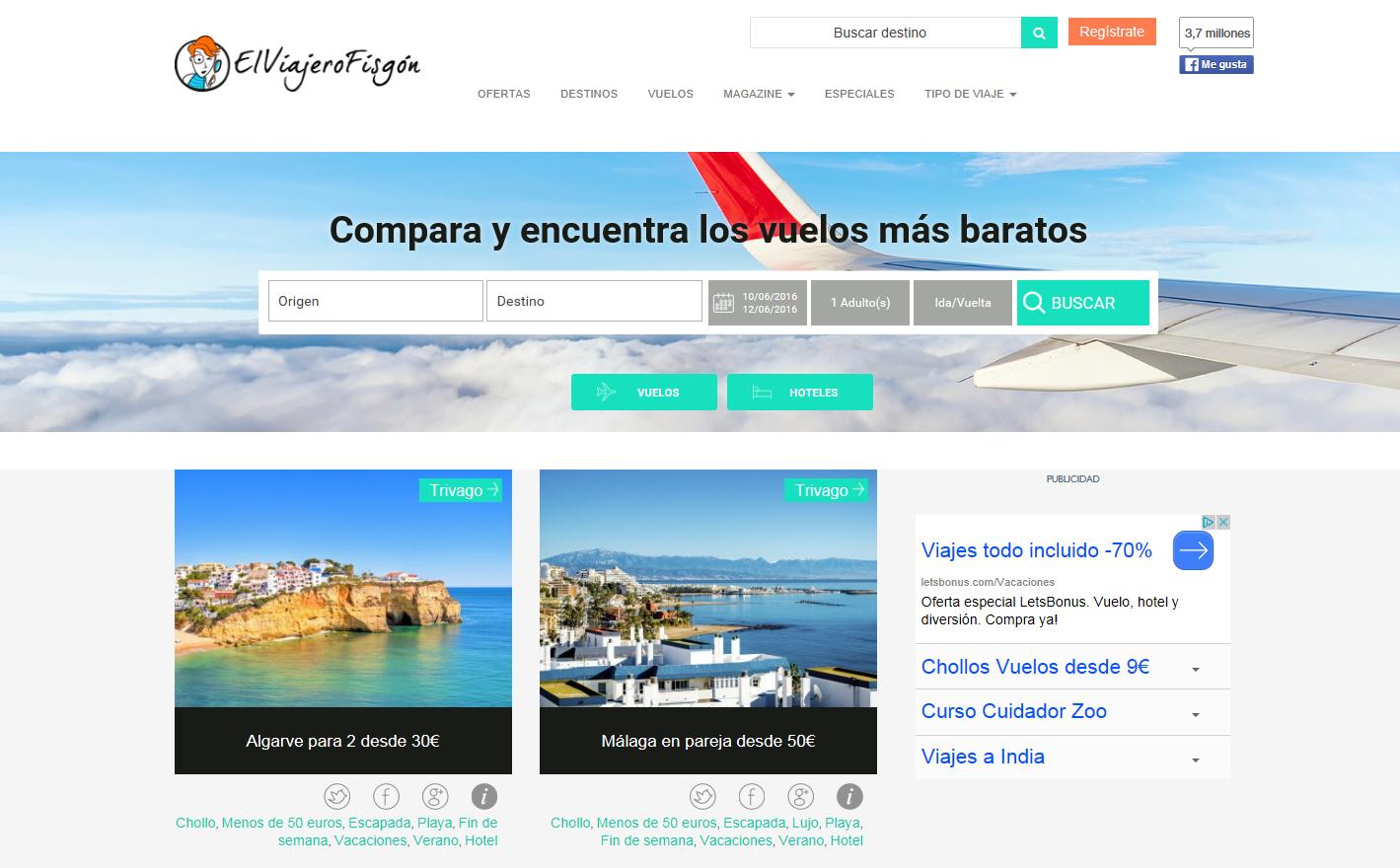 Las mejores webs de viajes: El viajero fisgon