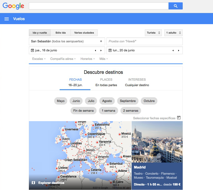 Las mejores webs de viajes: Google Flights
