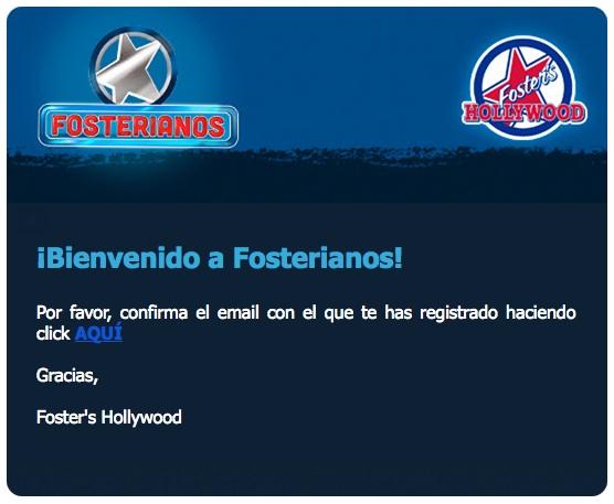email de bienvenida Foster's Hollywood