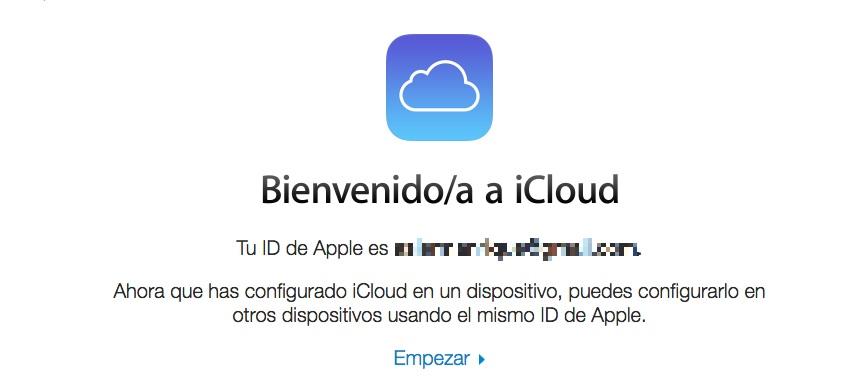 email de bienvenida icloud