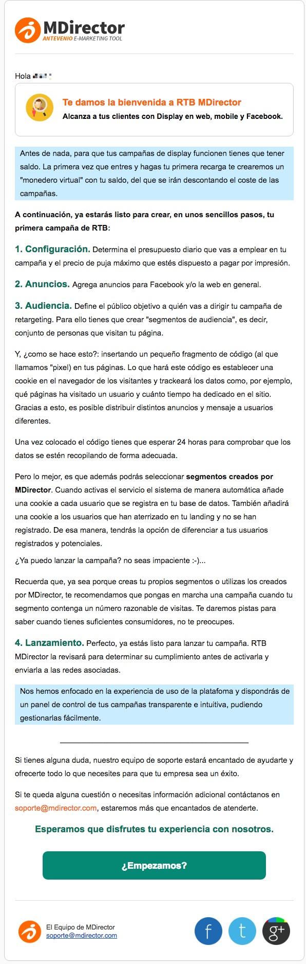 email de bienvenida MDirector