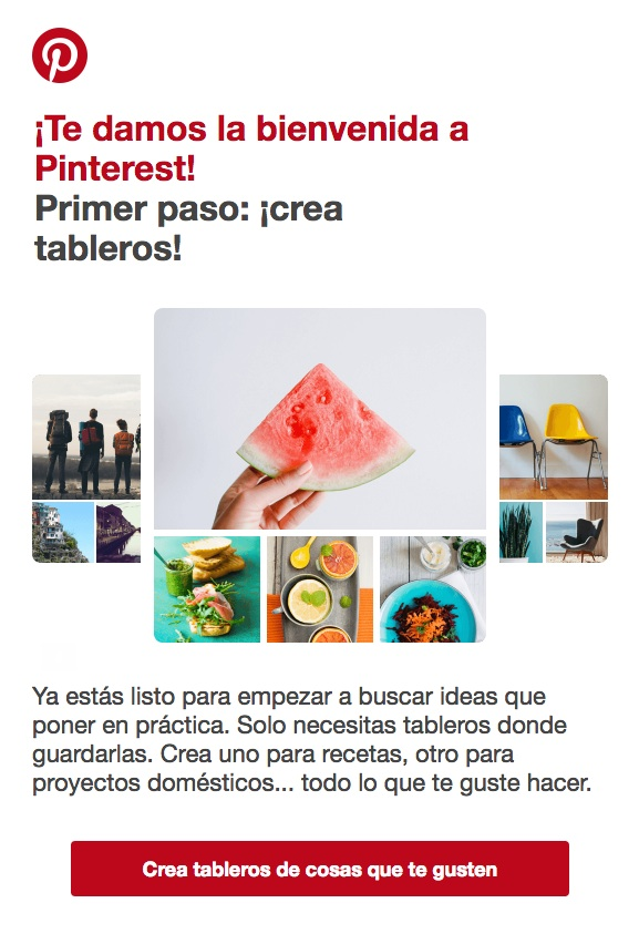 emails de confirmación : Pinterest
