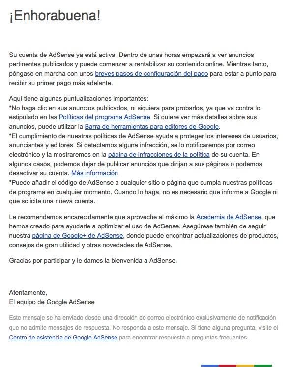 email de bienvenida Google AdSense