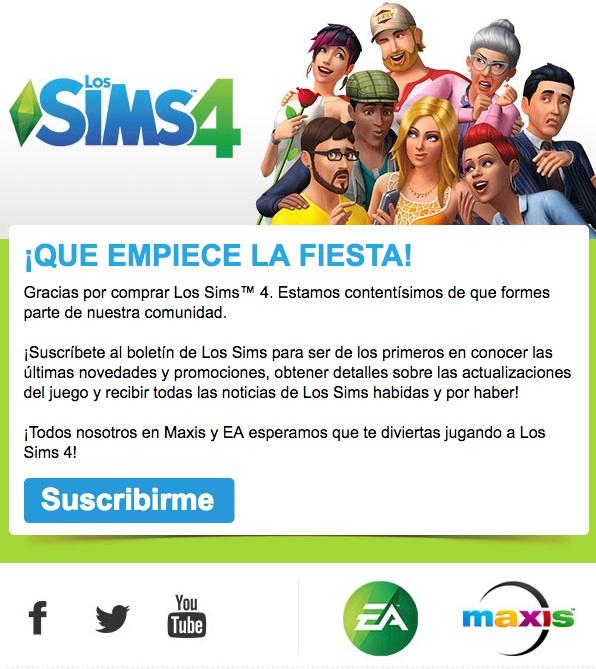 email de bienvenida Los Sims 4