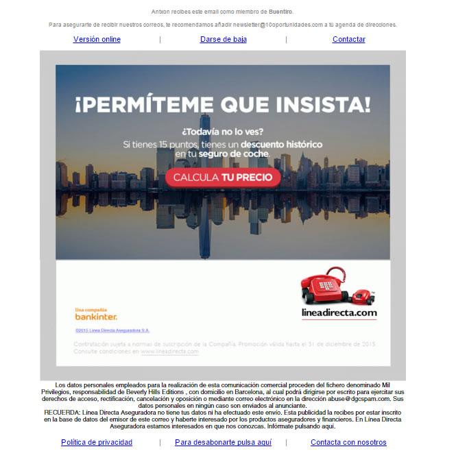 Email automatizzate per il settore assicurativo: LineaDirecta