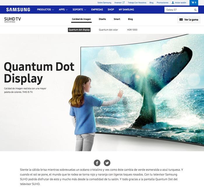 landing pages para Google Adwords: Samsung