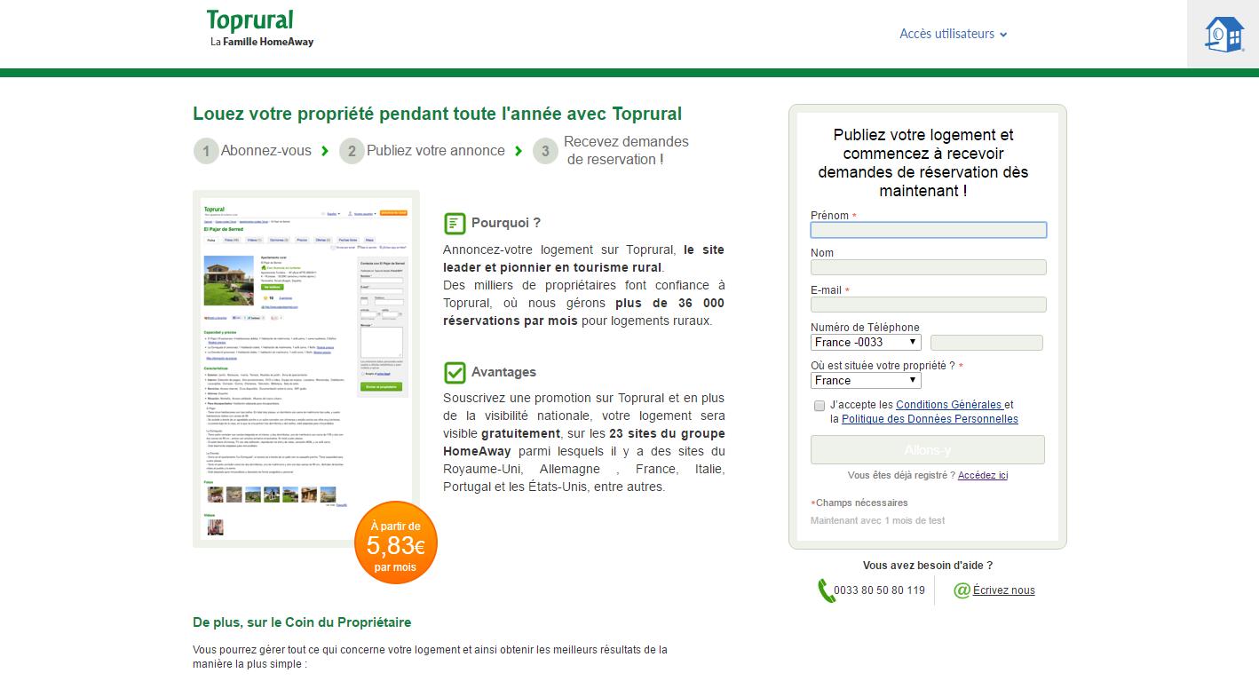 exemples de formulaires qui aident à acquérir des abonnés: Top Rural