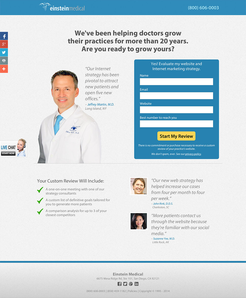 Incorpora testimonios en landing pages: Einstein Medical