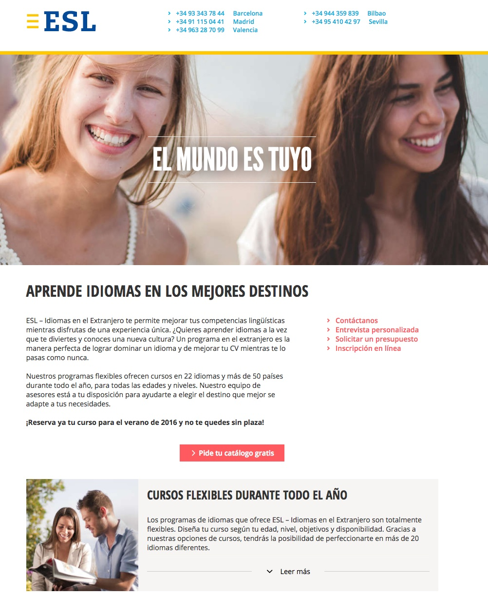 Errores en las landing pages: ESL