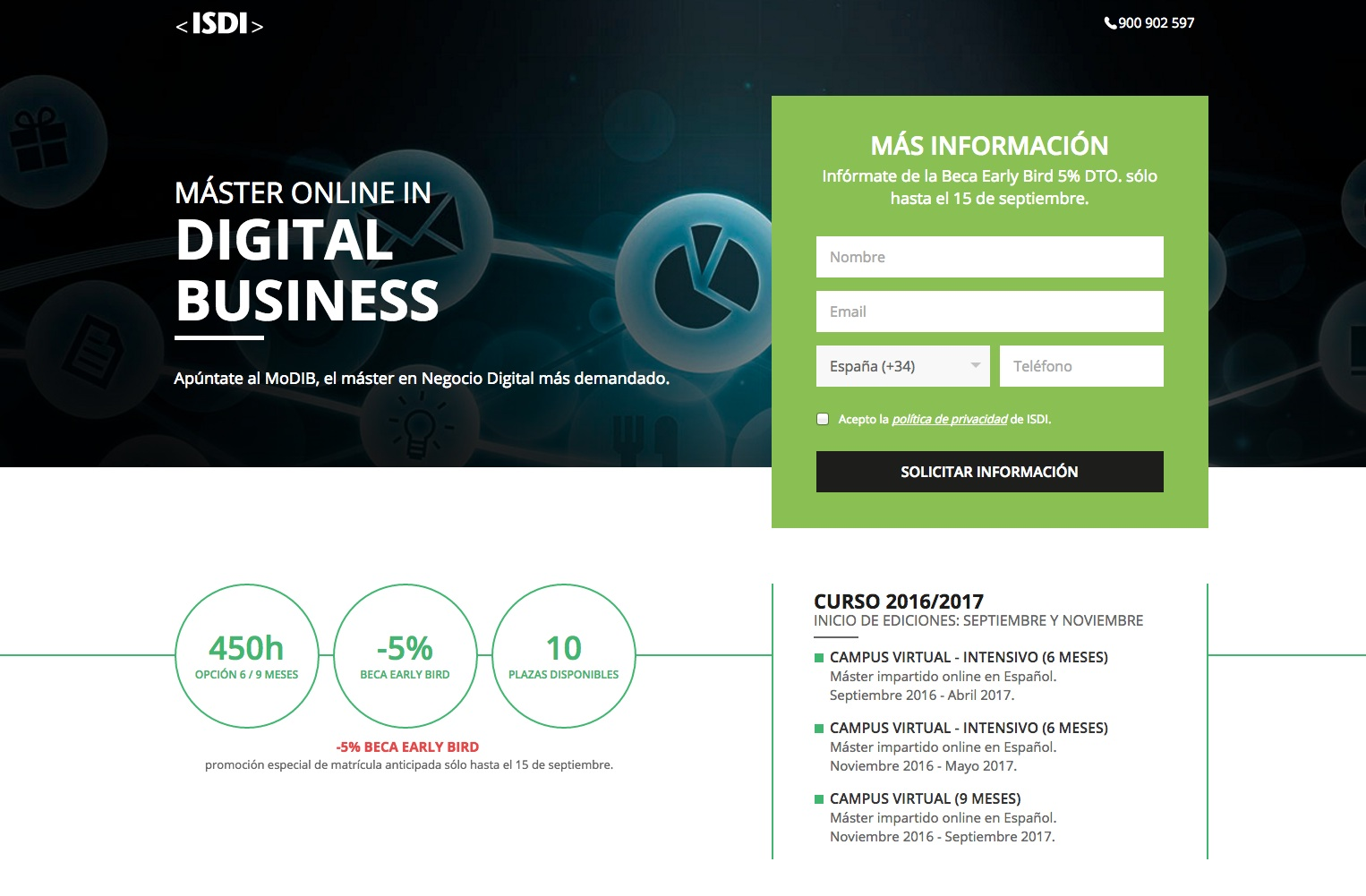 Errores en las landing pages: ISDI