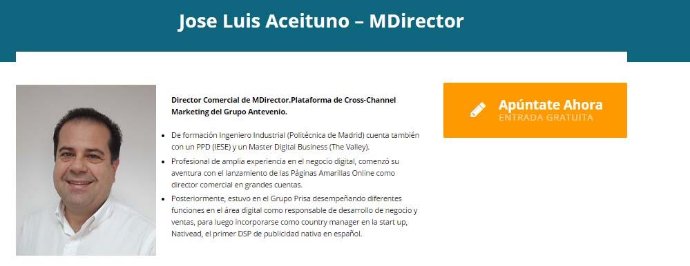 José Luis Aceituno, director comercial de MDirector en el IV Congreso Ecommaster