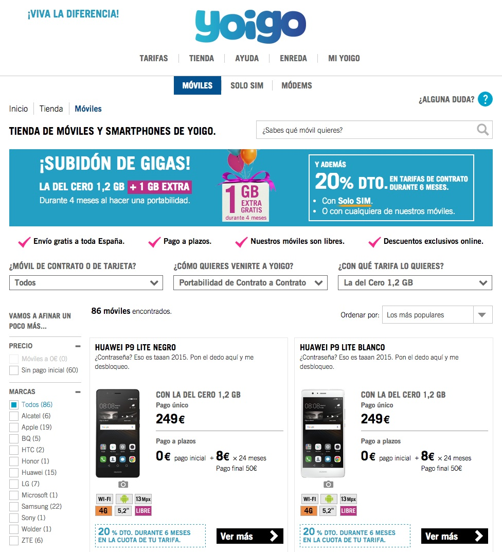 Errores en las landing pages: Yoigo