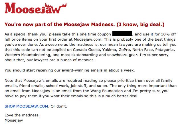 emails originales : Moosejaw