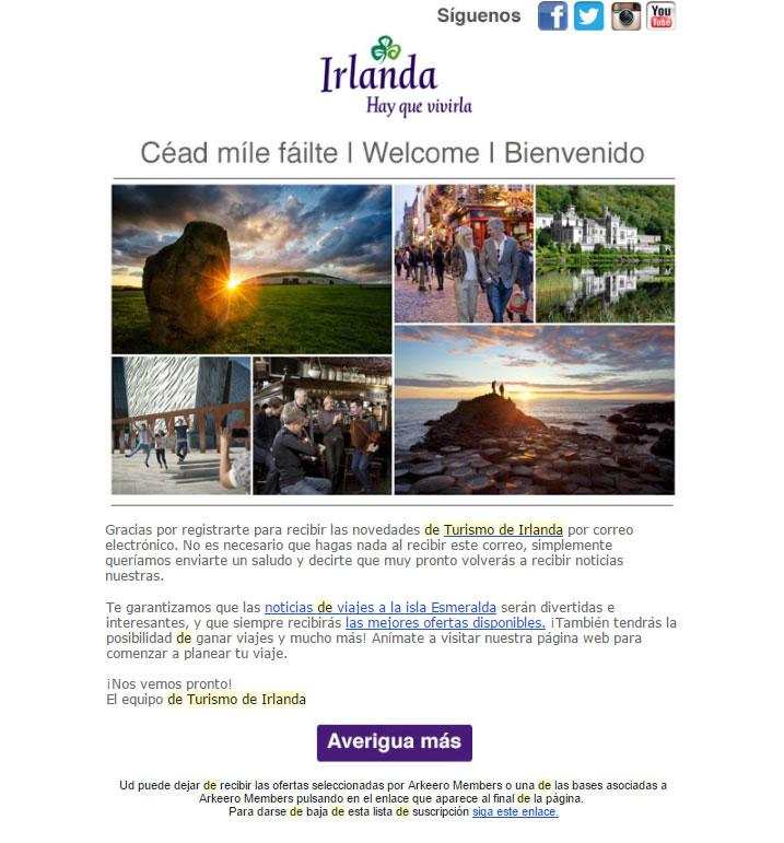 emails de bienvenida que incrementan conversiones: Turismo de Irlanda