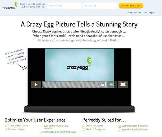 vídeo en landing pages: CrazyEgg