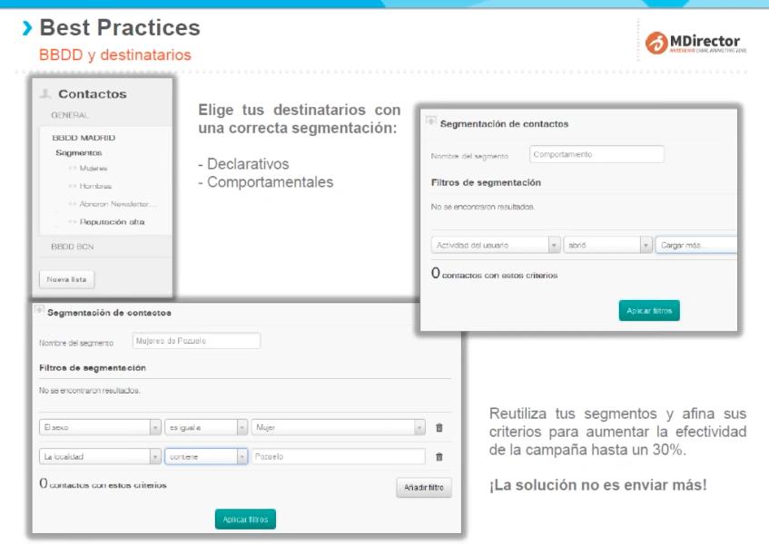 Recomendaciones y buenas prácticas de email y SMS : segmentos