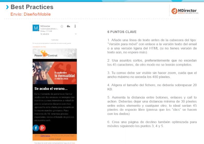 Recomendaciones y buenas prácticas de email y SMS : diseño para mobile