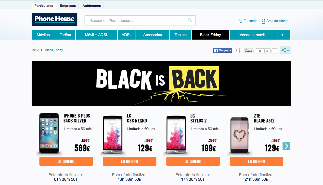 tácticas para vender en Black Friday: Phone House