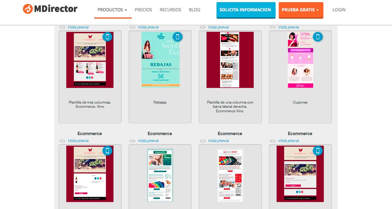 herramientas de gestión de email marketing : diseño de plantillas
