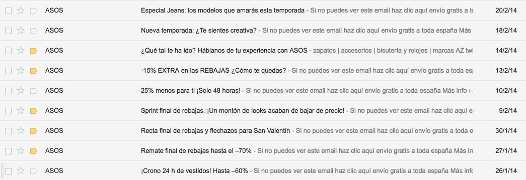 demasiada frecuencia de emails