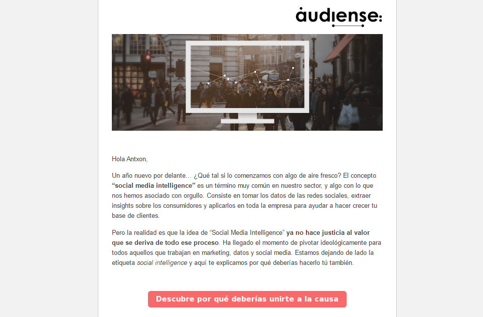 emails personalizados. Audiense