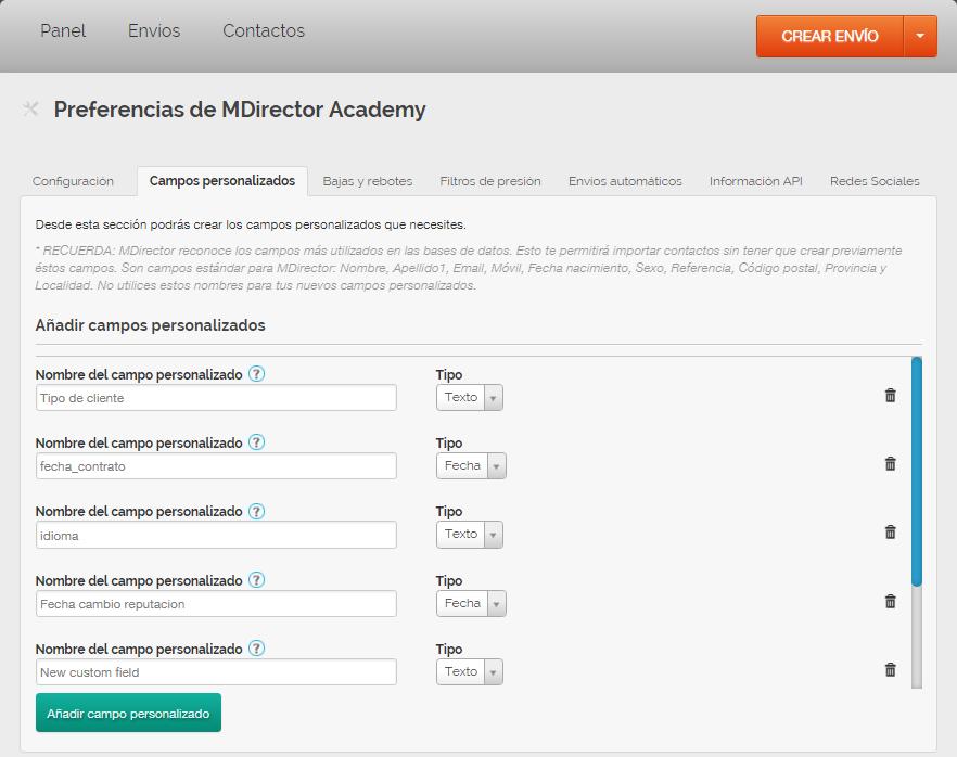 herramienta de email marketing: campos personalizados