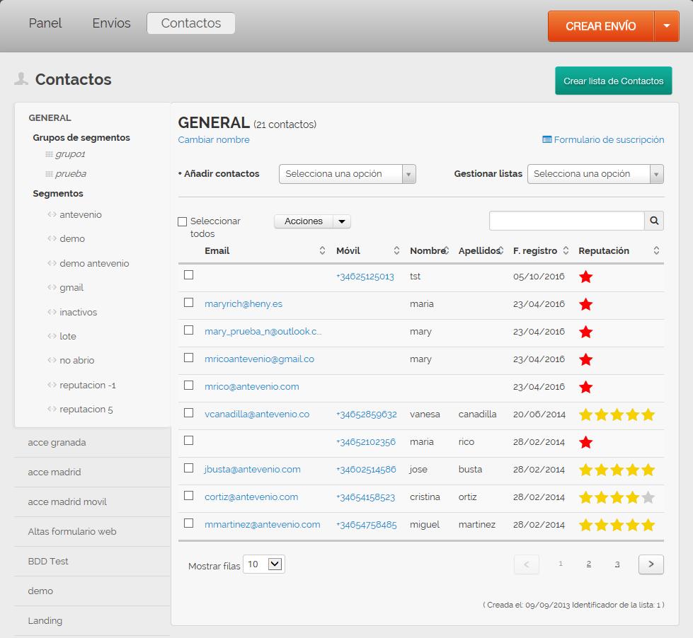 herramienta de email marketing: información API