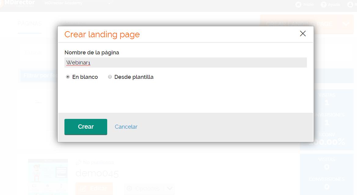crear landings con MDirector