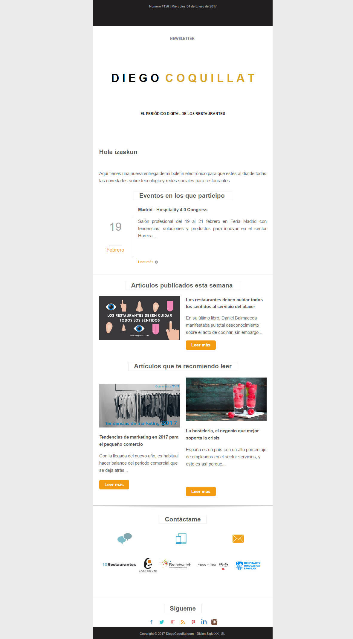 emails personalizados: Diego Coquillat