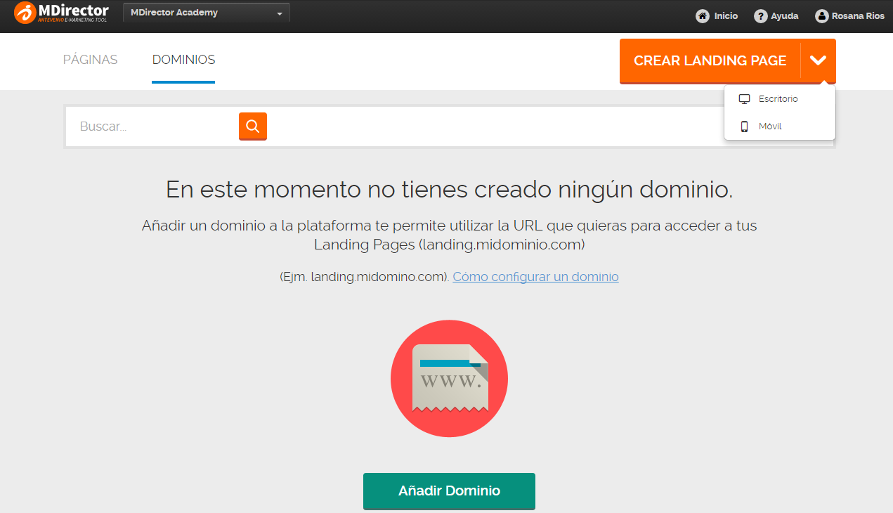 configurar dominios con landing optimizer
