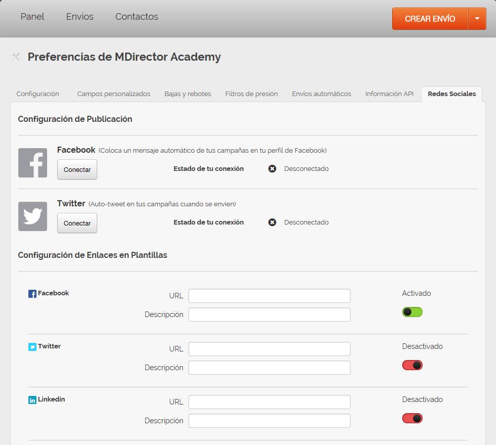 incluir redes sociales en la herramienta de email marketing de MDirector