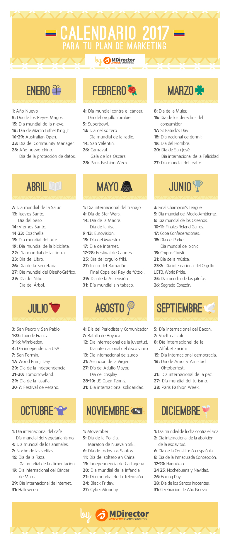 calendario de marketing 2017 para Colombia