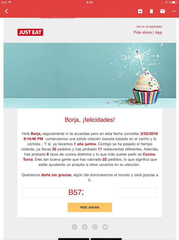 email automático de Just Eat
