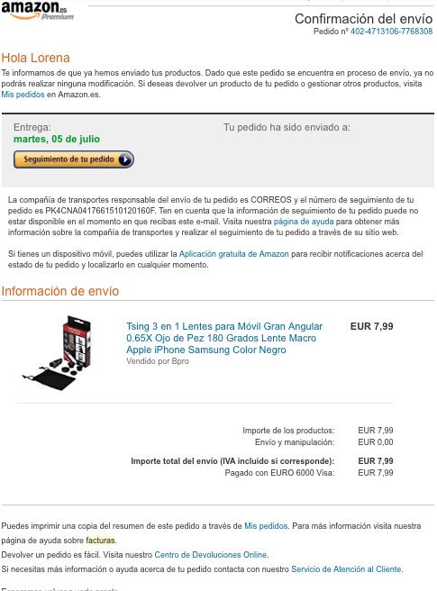 email transaccional de Amazon